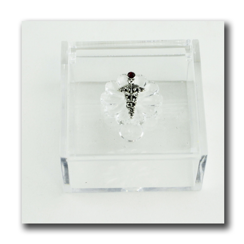 Scatola portagioie in plexiglass Caduceo Laurea in Farmacia Confetti plexi