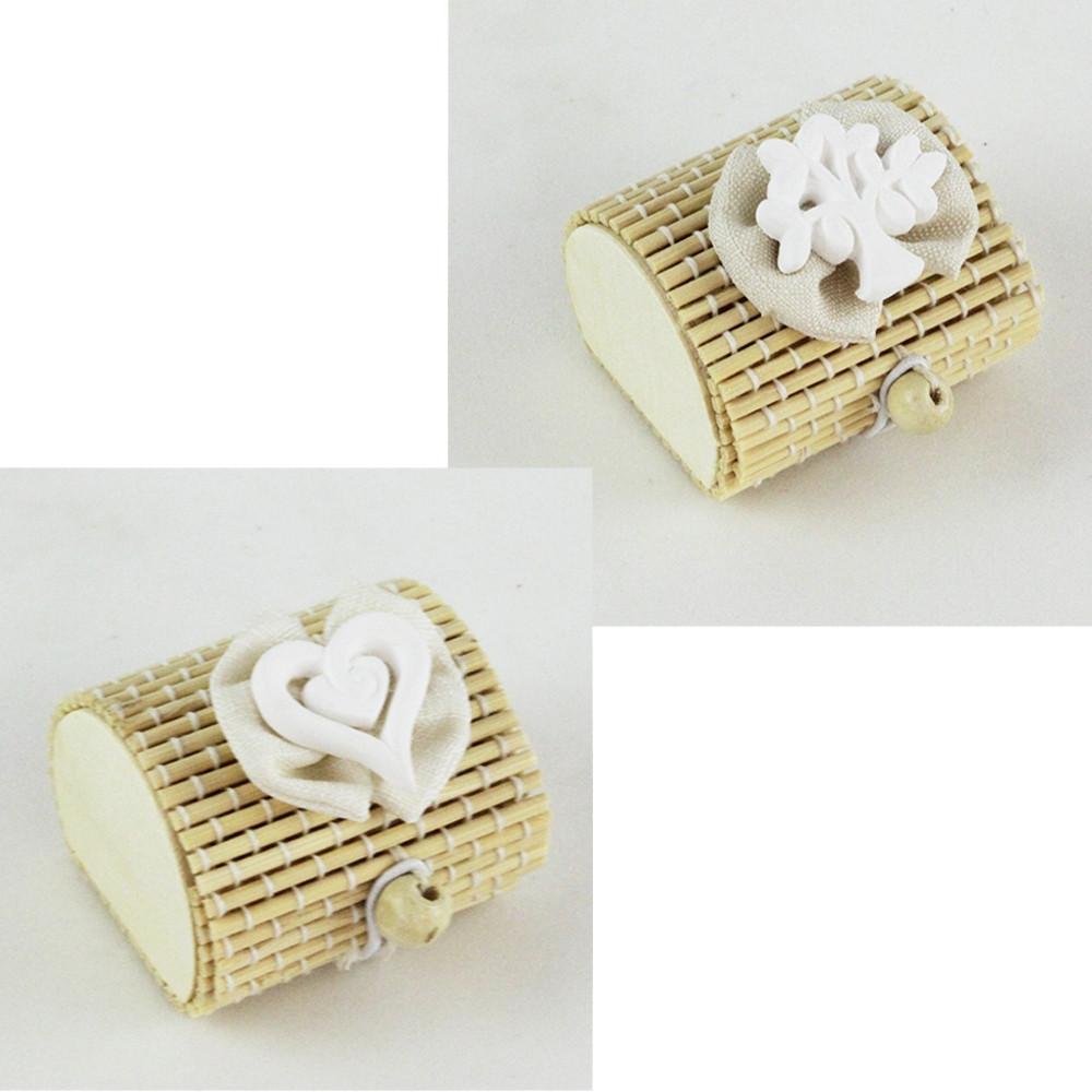 Scatola Portaconfetti in Bambu Albero della Vita Cuore con Fiocco Bambù Confettata Segnaposto