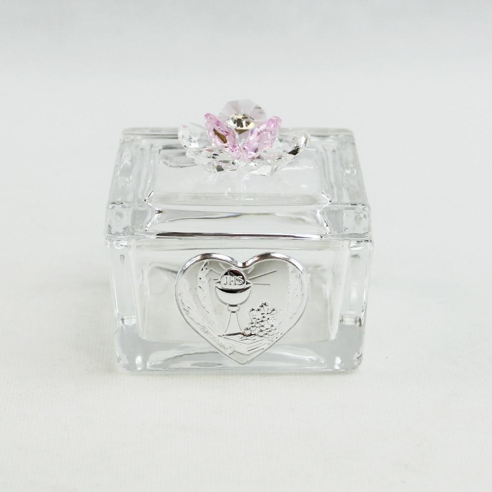 Scatolina Cofanetto Portaconfetti con fiore in cristallo per Comunione