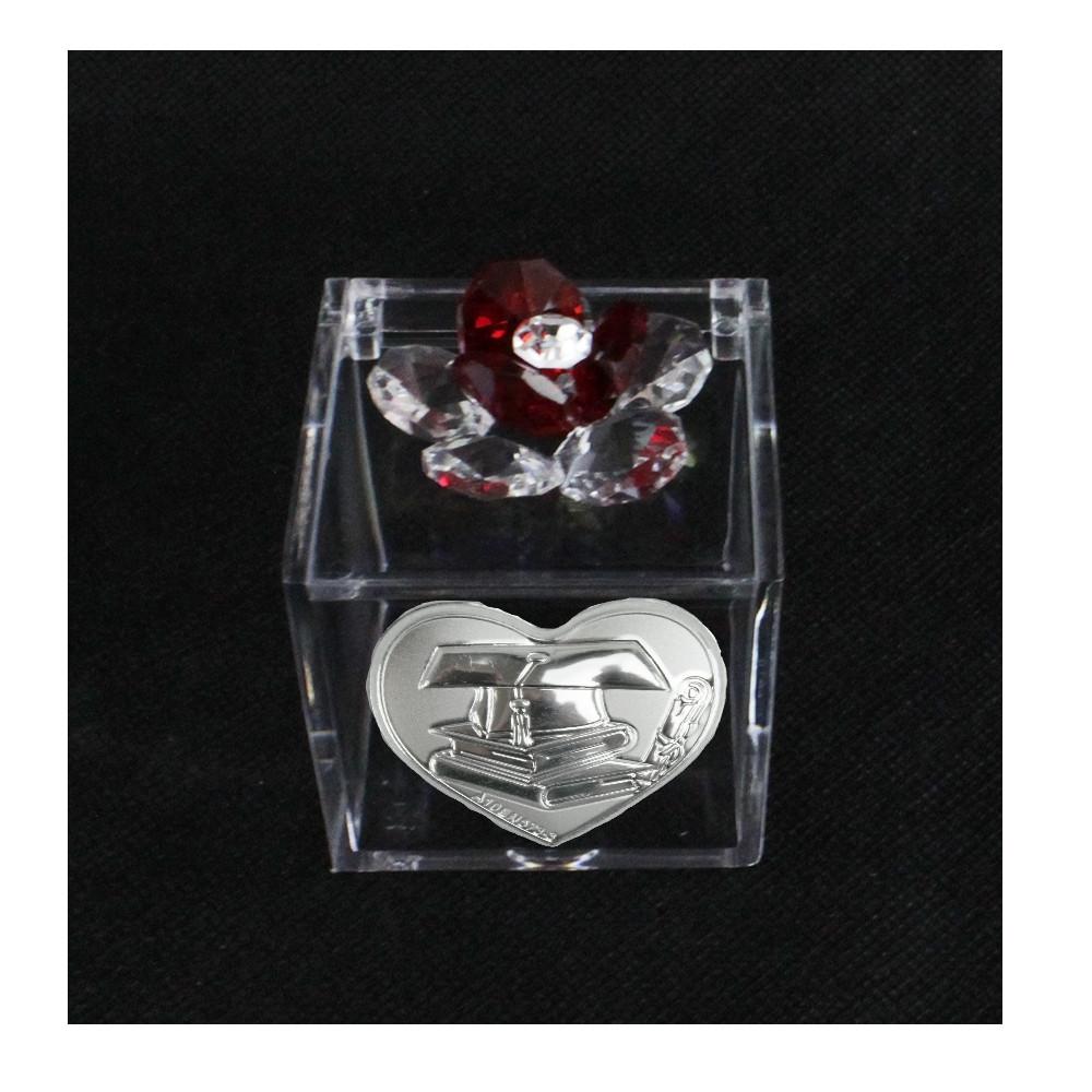 Scatolina in Plexiglass con Fiore in Cristallo Cappello Pergamena Laurea Cofanetto Plex