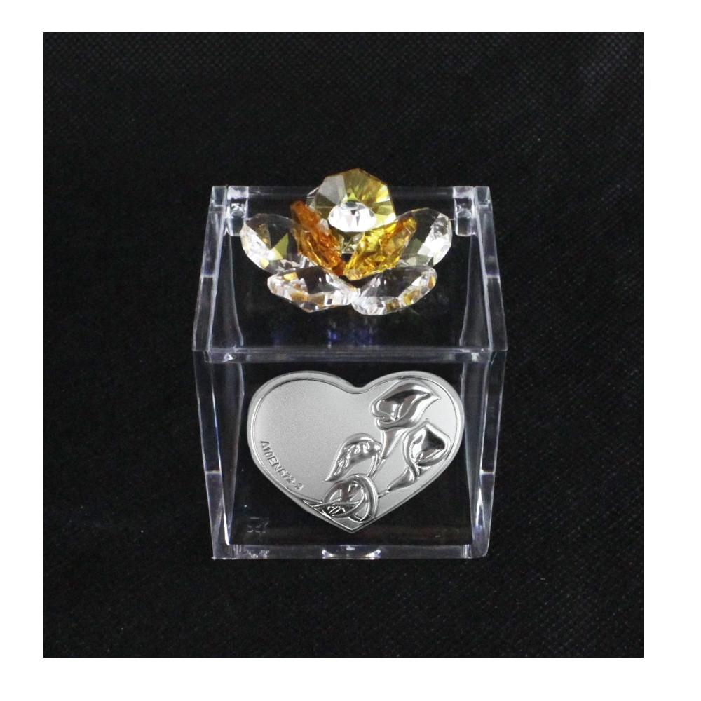 Scatolina in Plexiglass con Fiore in Cristallo Coppia Fedi Nozze Calle Portaconfetti Cofanetto Plex