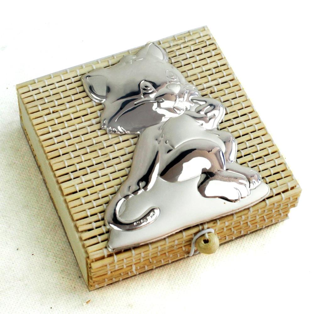 Scatolina per confetti in bambu bambù con Gatto Grande Gattino Micio Portaconfetti
