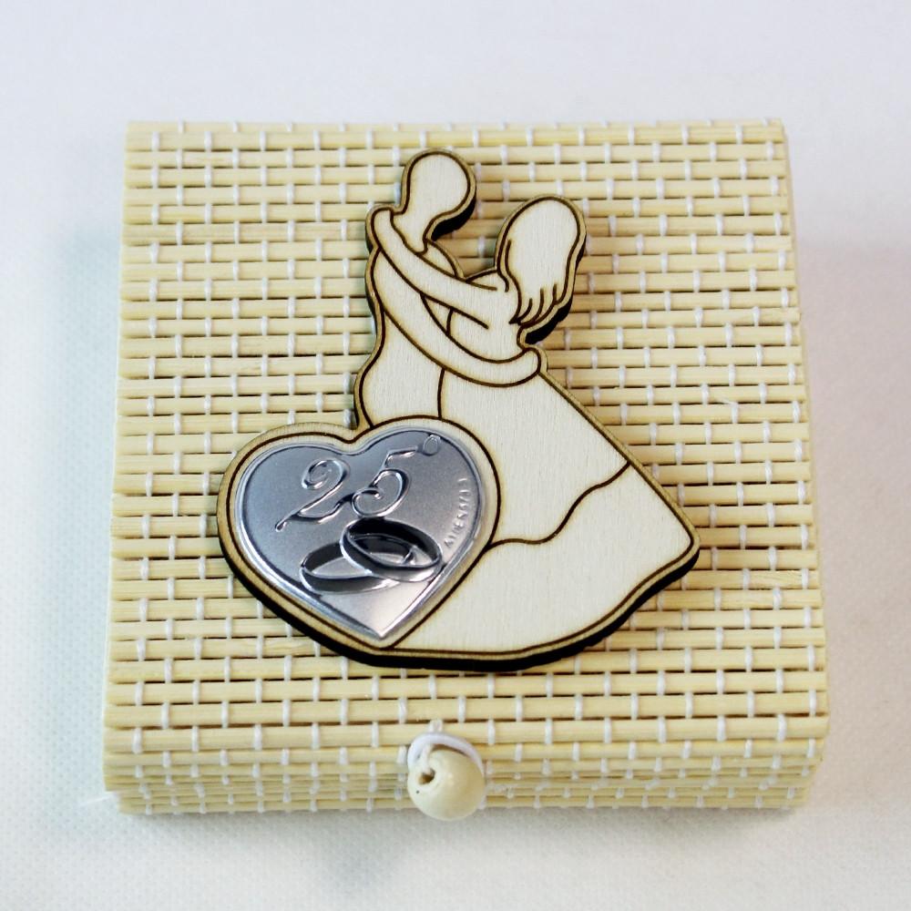 Anniversario Matrimonio Confetti.Dlm Scatolina Porta Confetti In Bambu Coppia Sposi 25
