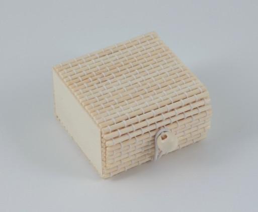 12 Scatoline piatte in bambu cm 6x6x3,5