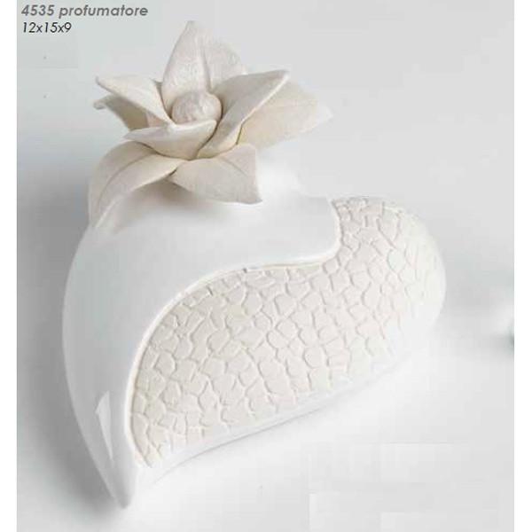 Profumatore cuore e fiore in ceramica