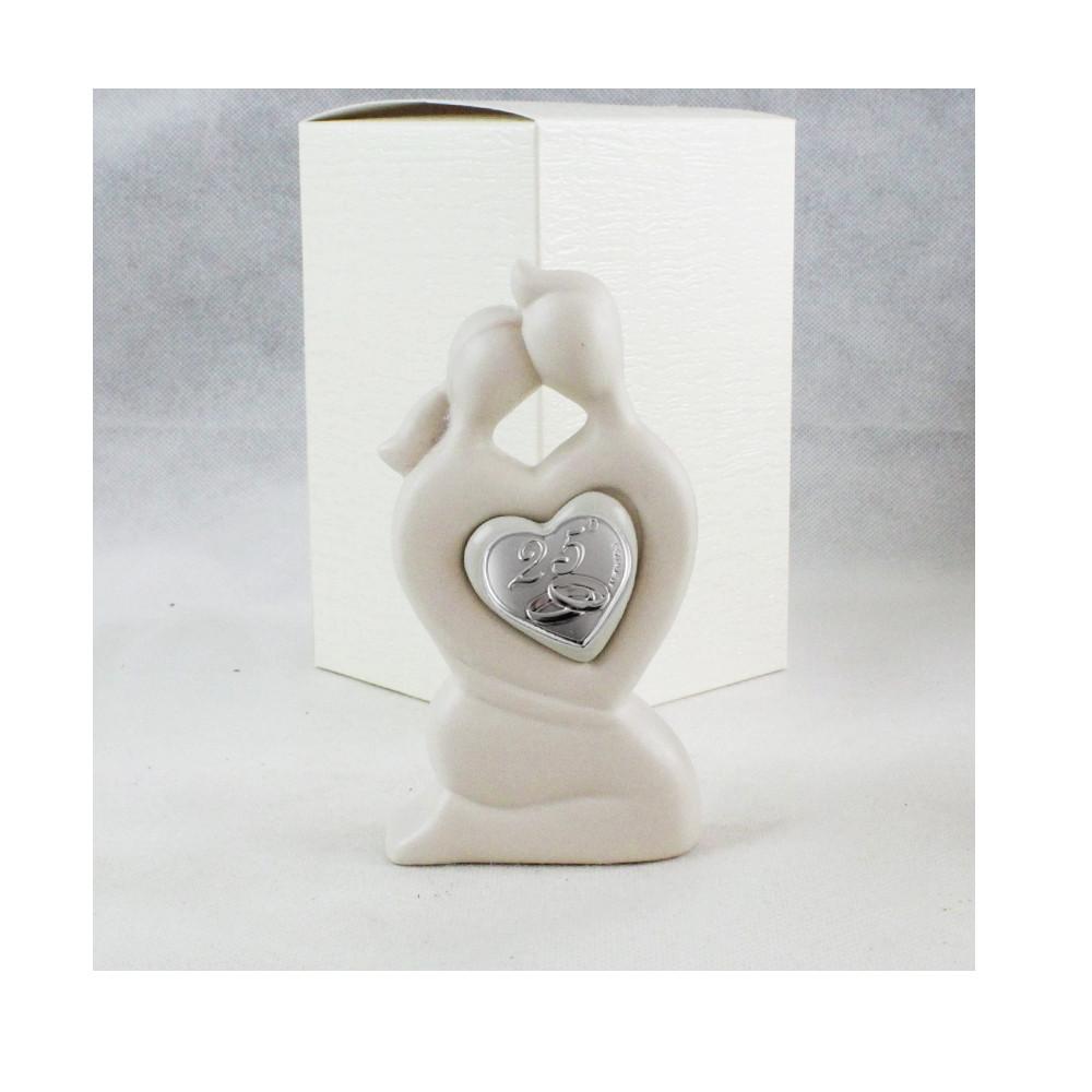 Statuina in ceramica Coppia Sposi Abbraccio 25 Anniversario Fedi Icona Cuore Amore Nozze
