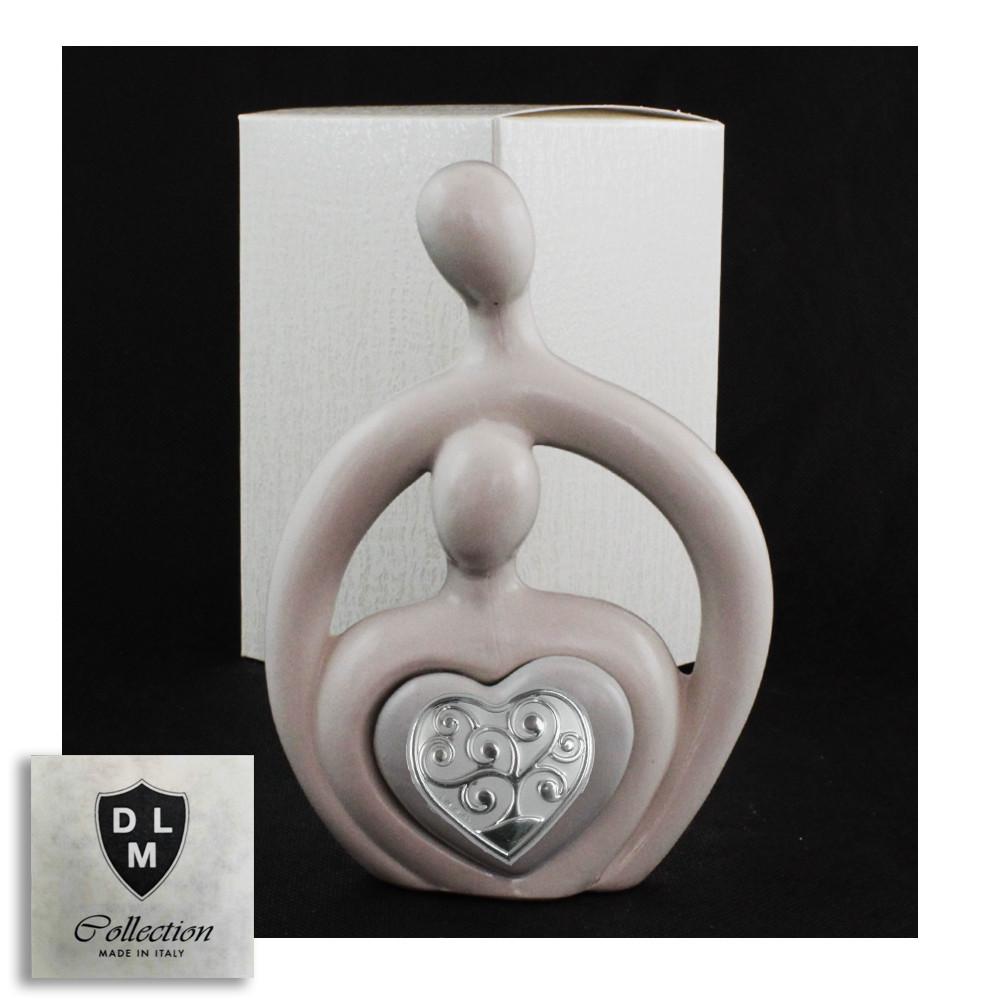 Statuina in ceramica Cuore Coppia Sposi Stilizzata Albero della Vita Icona Amore Nozze
