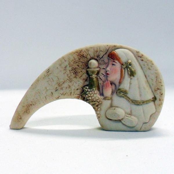 Icona bimba comunione in resina cm 8