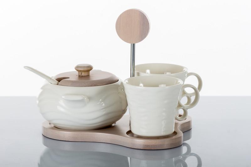 Tazze Tazzine da Caffè con Zuccheriera In Ceramica Bianca e Legno Design Bomboniera Utile Shabby Chic Art. A7626