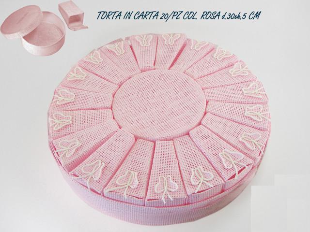Torta rosa, in carta 20 pezzi D.30XH.5 CM