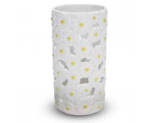 Vaso portafiori, ceramica decoro margherite