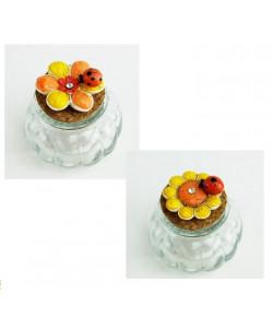 Barattolo in Vetro con Margherita Fiore Girasole e Coccinella Portafortuna