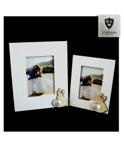 Bomboniera Portafoto Cornice Quadretto Legno Coppia Sposi Cuore Coppia Fedi 50 Anniversario Nozze Matrimonio D'oro Cinquantesimo
