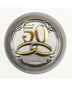 Calamita Magnete Tonda in legno Fedi 50 Anniversario D'oro Cinquantesimo Matrimonio Segnaposto Pensierino Confettata