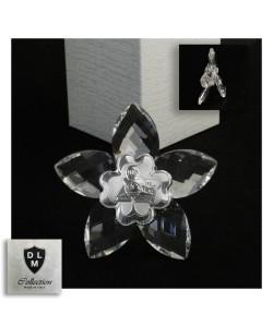 Icona Fiore in Cristallo con Quadrifoglio Calice della Prima Comunione