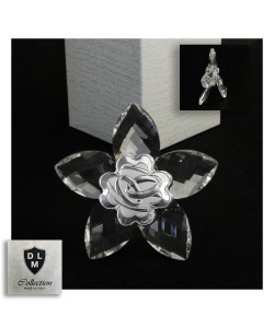 Icona Fiore in Cristallo con Quadrifoglio Coppia Fedi Matrimonio Anniversario Nozze D'oro Cinquantesimo