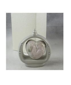 Icona in ceramica Cuore con Bimba Bambina in Preghiera Calice Comunione
