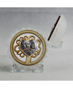Icona in vetro e legno con Albero della Vita per Cresima