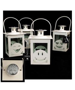Lanterna Bianca Faccine Emoticon Smile con Icona Albero della Vita Kharma Living Shabby Chic