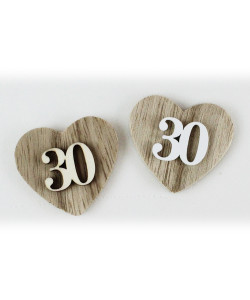 Magnete Calamita Cuore 30 Trentesimo Compleanno Anniversario di Nozze in Legno Segnaposto Confettata
