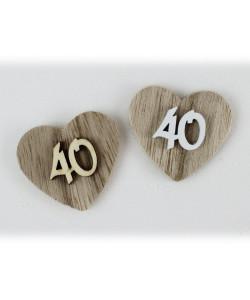 Magnete Calamita Cuore 40 Quarantesimo Compleanno Anniversario di Nozze in Legno Segnaposto Confettata