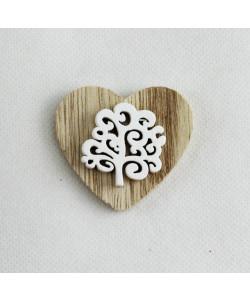 Magnete Calamita Cuore Albero della Vita in Legno Bianco Segnaposto Confettata