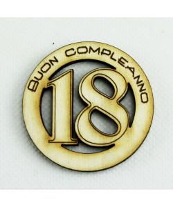 Magnete in Legno Confettata Segnaposto 18 Diciottesimo Compleanno