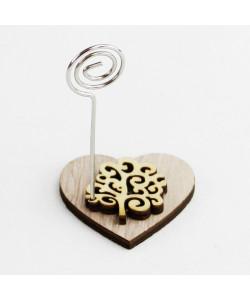 Portafoto Memo Clip Cuore in legno con Albero della Vita