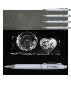 PortaPenne in Vetro e Cristallo con Penna e Icona Cuore Madonna e Bambino