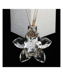 Profumatore Fiore 5 petali in Cristallo con Quadrifoglio Santa Cresima Diffusore per Ambienti Profumo