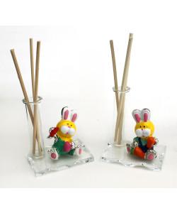 Profumatore in vetro e Resina Coniglio Coniglietto Battesimo Comunione Diffusore Profumo Ambienti