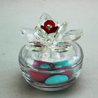 Scatola portagioie in vetro con fiore grande cristallo