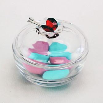 Scatola portagioie in vetro con farfalla cristallo