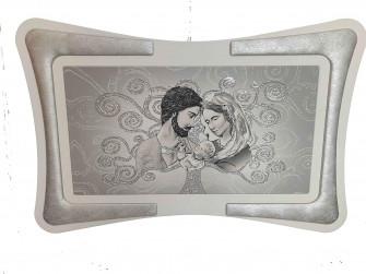 Quadro Maternità Madonna con Cornice in Ecopelle con Inserto in Fili Argento Arredo Soggiorno Salotto Camera da Letto Cucina 90X60
