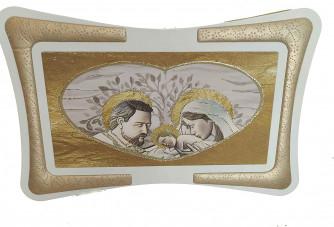 Quadro Arredo Sacra Famiglia Cuore Oro Soggiorno Salotto Camera da Letto Cucina Ufficio Bar Ristorante Regalo Misure 90X60