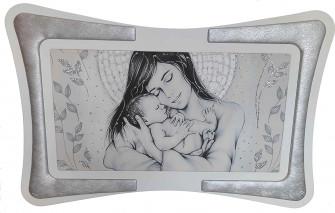 Quadro Maternità Madonna con Bambino Cornice in Ecopelle con Inserto in Fili Argento Arredo Soggiorno Salotto Camera da Letto Silver 90X60