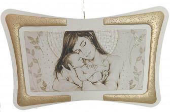 Quadro Maternità Madonna con Bambino Cornice in Ecopelle con Inserto in Fili Argento Arredo Soggiorno Salotto Camera da Letto Oro 90X60