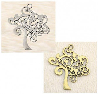 Kit 12 pz Ciondolo Ciondoli Charm Albero della Vita Silver Oro Life Tree Confettata Fai da Te