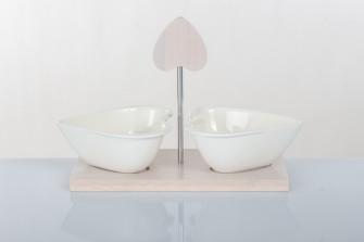 Antipastiera Cuore In Ceramica Bianca e Legno Design Bomboniera Utile Shabby Chic Art. A7621