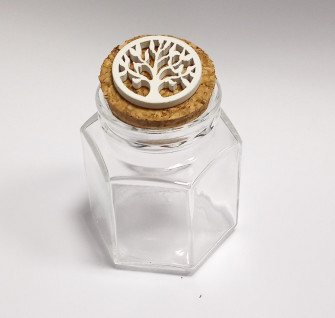 Barattolo Esagonale in vetro Albero della Vita in legno Bianco Confettata Segnaposto