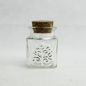 Barattolo in Vetro con Albero della Vita in Legno Bianco Porta Confetti Spezie