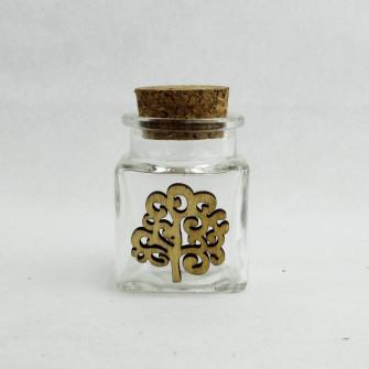 Barattolo in Vetro con Albero della Vita in Legno Porta Confetti Spezie