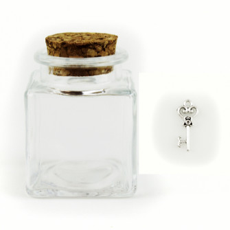 Barattolo in Vetro con Ciondolo Chiave Cuore Portafortuna Porta Confetti