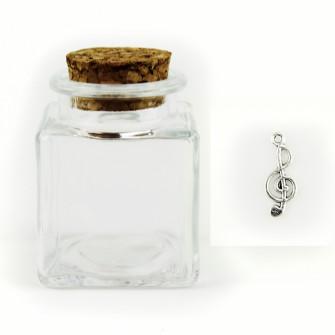 Barattolo in Vetro con Ciondolo Chiave di Violino Sol Musica Porta Confetti