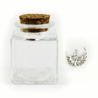 Barattolo in Vetro con Ciondolo Cigno Nozze Porta Confetti