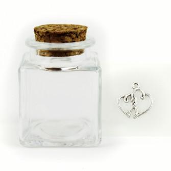 Barattolo in Vetro con Ciondolo Coppia Cuori Cuore Nozze Porta Confetti