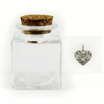 Barattolo in Vetro con Ciondolo Cuore Cuoricino Coppia Heart Porta Confetti