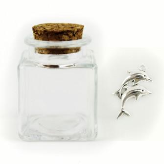 Barattolo in Vetro con Ciondolo Delfino Coppia Delfini Mare Porta Confetti