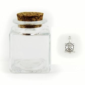 Barattolo in Vetro con Ciondolo Tartaruga Portafortuna Porta Confetti