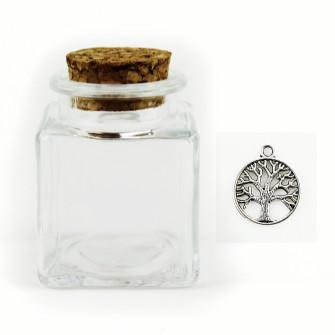 Barattolo in Vetro con Ciondolo Albero della Vita Porta Confetti